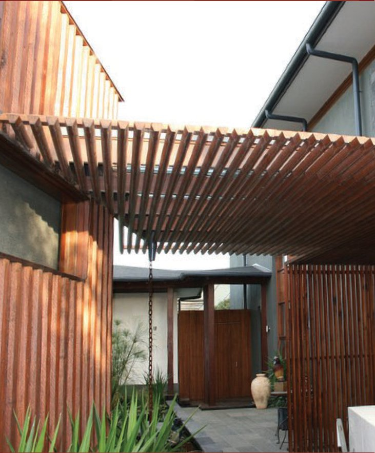 A house using radial sawn timber for cladding and a pergola