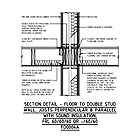 SECTION DETAIL - FLOOR TO DOUBLE STUD WALL, JOISTS PERPENDICULAR & PARALLEL WITH SOUND INSULATION, FRL 60/60/60 OR -/60/60 FD0004A