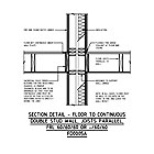 SECTION DETAIL - FLOOR TO CONTINUOUS DOUBLE STUD WALL, JOISTS PARALLEL, FRL 60/60/60 OR -/60/60 FD0005A