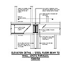 ELEVATION DETAIL - STEEL FLOOR BEAM TO WALL, JOISTS PARALLEL FD0015A