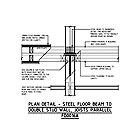 PLAN DETAIL - STEEL FLOOR BEAM TO DOUBLE STUD WALL, JOISTS PARALLEL FD0016A