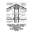 SECTION DETAIL - ROOF FRAMING TO DOUBLE STUD WALL, TRUSSES PERPENDICULAR, FRL 60/60/60 OR -/60/60 RD0001A