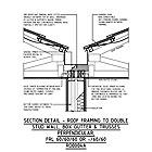 SECTION DETAIL - ROOF FRAMING TO DOUBLE STUD WALL, BOX GUTTER & TRUSSES PERPENDICULAR, FRL 60/60/60 OR -/60/60 RD0004A
