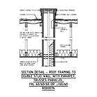 SECTION DETAIL - ROOF FRAMING TO DOUBLE STUD WALL WITH PARAPET, TRUSSES PARALLEL, FRL 60/60/60 OR -/60/60 RD0007A