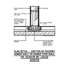 PLAN DETAIL - JUNCTION OF MASONRY VENEER WALL TO DOUBLE STUD WALL, FRL 60/60/60 OR -/60/60 WD0020A