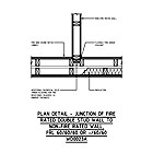 PLAN DETAIL - JUNCTION OF FIRE RATED DOUBLE STUD WALL TO NON-FIRE RATED WALL, FRL 60/60/60 OR -/60/60 WD0023A