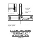 PLAN DETAIL - JUNCTION OF FIRE RATED DOUBLE STUD WALL TO NON-FIRE RATED WALL, FRL 90/90/90 OR -/90/90 WD0024A