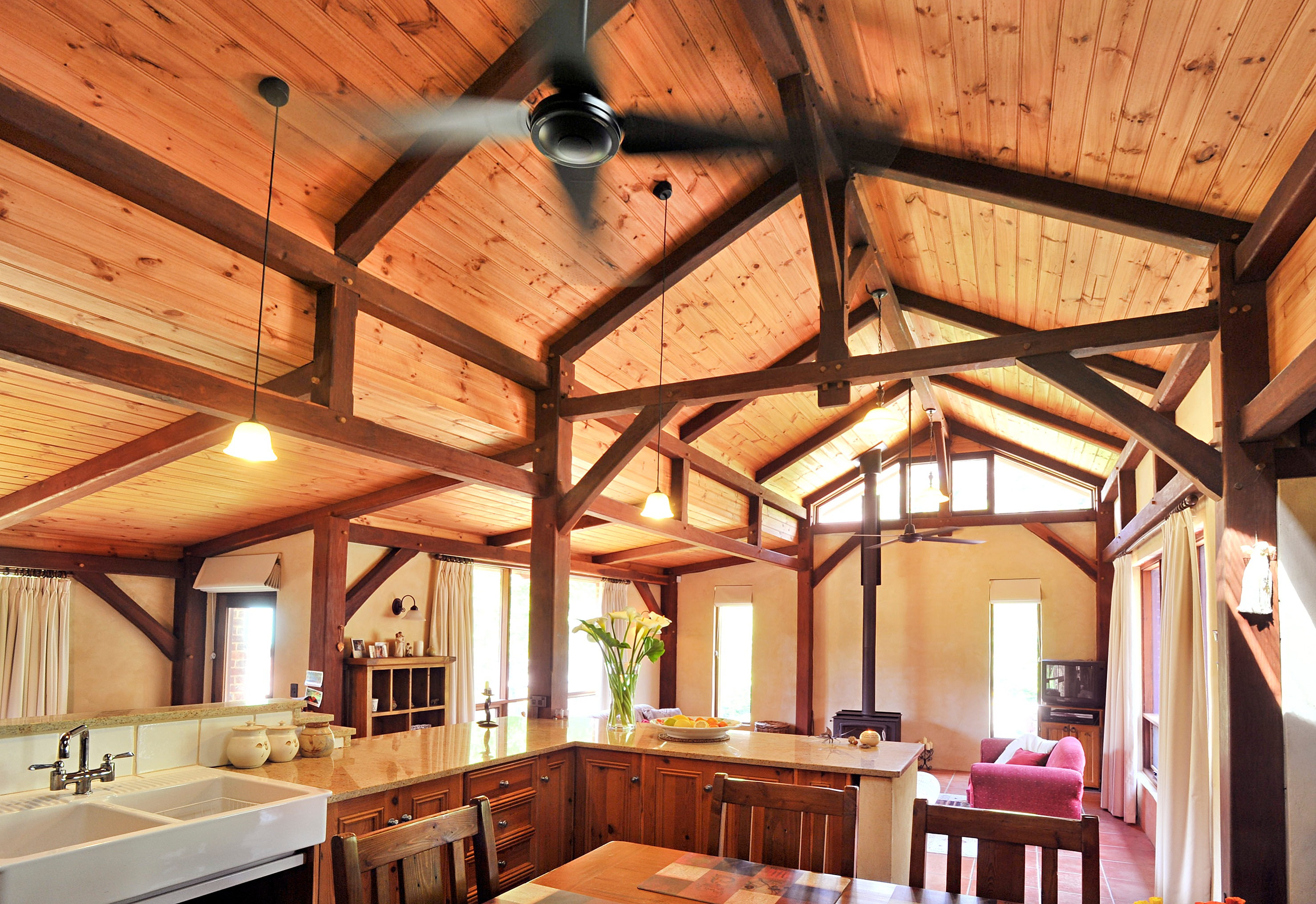 Traditional timber framed house in norton summit for How to design a timber frame house