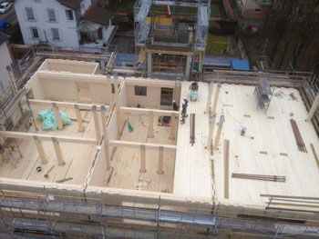 Construction of the CLT 8 storey apartments